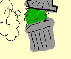 person in trashcan contemplating... something.