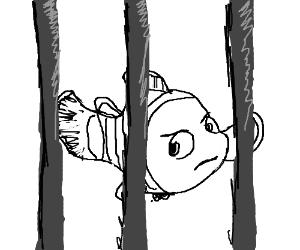Nemo behind bars where he belongs