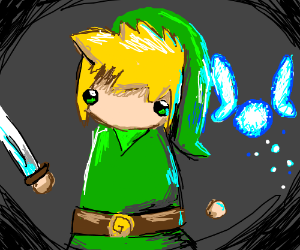 kid with no arm and a sword and Navi fairy