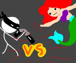 Ninja stick figure versus Asriel
