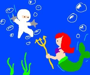White ninja stickman vs Ariel, little mermaid
