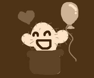 Happy cactus with a balloon