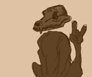 Scooby-doo becomes skeleton beast.