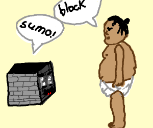 block saying sumo and sumo person saying block