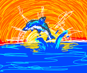 Dolphin leaping out of water as the sun sets.