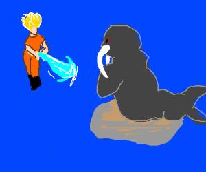 Super Sayian Goku VS A walrus. .o.