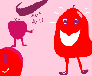 Fruits endorse red pear to wear Nike products