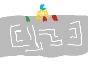 Blue baby pacman on top of ladder