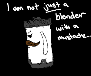 blender with a mustache