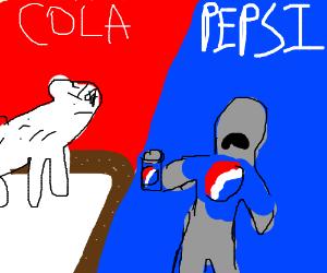 Coke polar bear vs Pepsi man