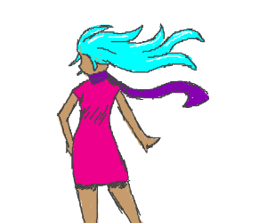 blue haired woman with pink dress+purple scarf