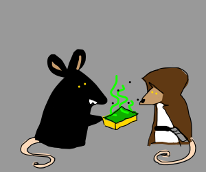 Black mouse offers stinky sponge to jedi mouse