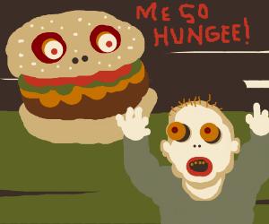 hamburgers chasing humans to eat him