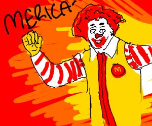 "McDonalds as a human saying ""Merica"