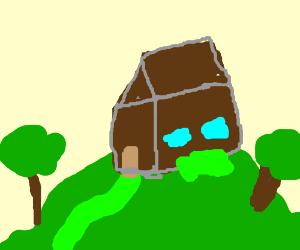 An house upon a hill.
