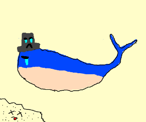 a whale with a tophat are crying caus sand die