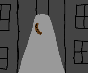 A sausage in an empty alleyway.