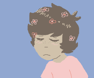 pretty boy with flowers in his hair, feelinsad