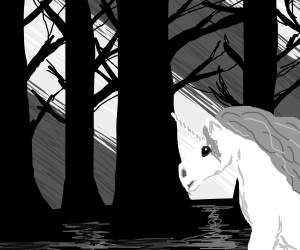 A unicorn in a clearing in the dark woods