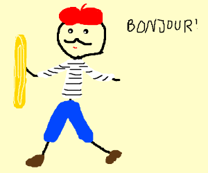 A French Guy Holding Baguette