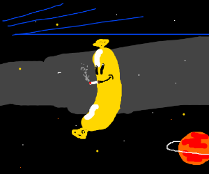 Yellow happy sausage smokes in space