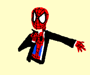 Spiderman putting on tuxedo jacket