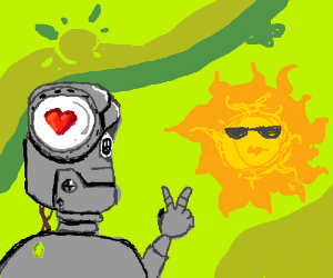 1960s hippie robot meets the sun