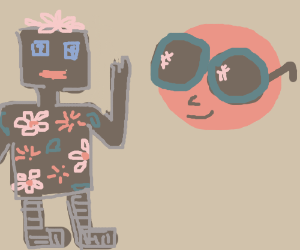 flowery robot says hi to sun with shades