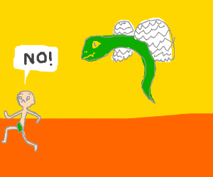 """NO!"" said the nudist to the flying snake"