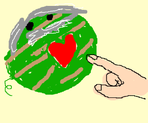 Old watermelon has its heart touched