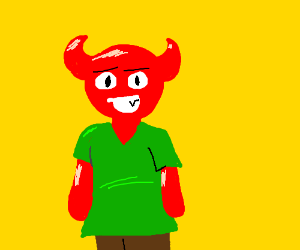 SATAN in a green T-shirt