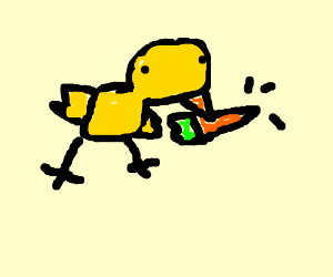 yellow chicken eats angry carrot