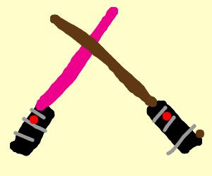 Light saber duel: pink vs brown