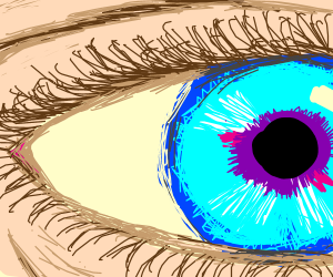 A strained closeup of an eye