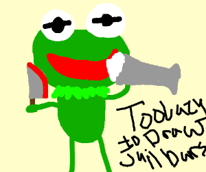 Kermit in jail for stabbing, drinks milkshake
