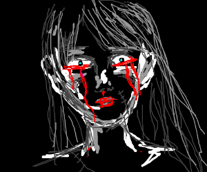 creepy girl cries blood
