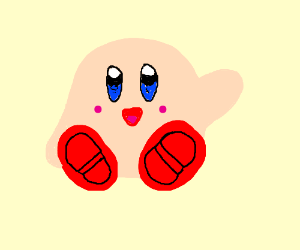 kirby with red shoes