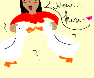 making the ducks kiss
