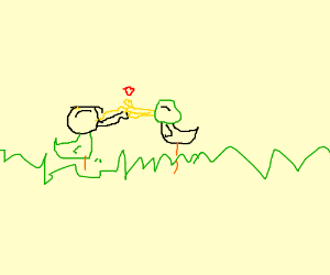 two ducks kissing on the grass