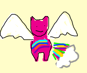 Flying rainbow kitten with rainbow farts