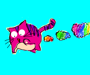 Pink flying cat colorfully farts clouds