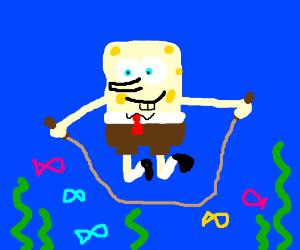 Jump-roping underwater with Spongebob