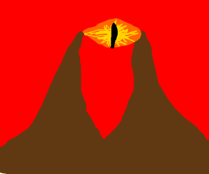 Eye of Sauron between two mountains