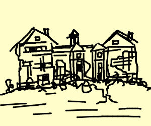 Old Mansion Drawing By Infamous