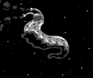 Gray slug in space blows smoke from eyes