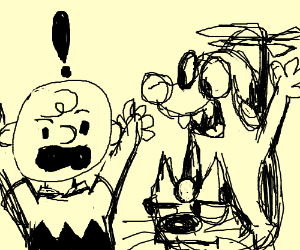 Charlie Brown is alarmed by helicopter dog/cat
