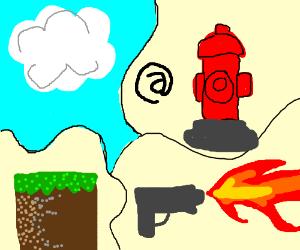 Dirtblock,shooting fire, cloud, @firehydrant