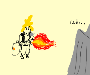 The blond guy from FF + flamethrower = ?