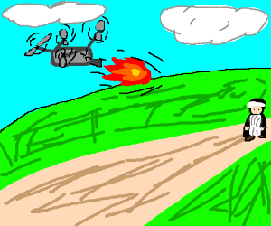ROFLdrone throwing fire balls