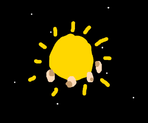 four levitating pigs in front of the sun